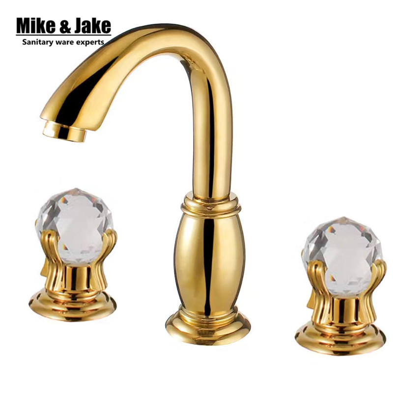 Luxury Double Crystal Handle Bathroom Faucet Golden