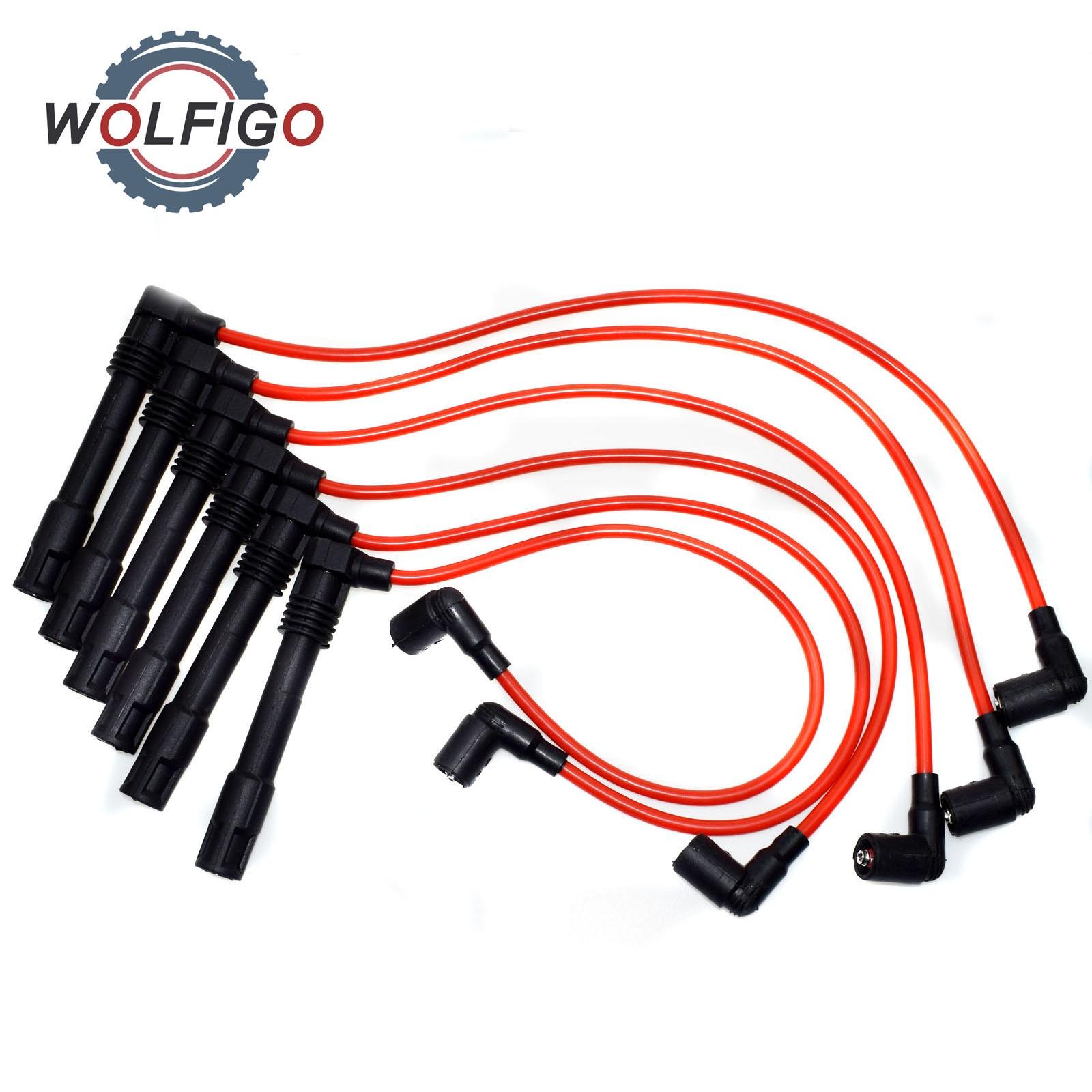 WOLFIGO 6pcs Ignition Spark Plug Wire Cable 7MM 57055 For Audi A4 A6 Quattro VW Passat