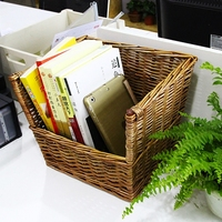 Hot Sale Handmade Basket Desk Bookshelf Antique Master Design Hand painted Folk Rattan Wicker Eco friendly Sundries Rack