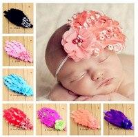Hot Moda Bebê Headband da Pena Strass pérolas flor, Faixas de Cabelo do bebê Meninas Crianças Crianças Acessórios Atacado 15 pçs/lote