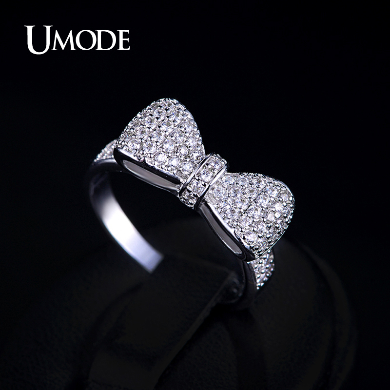 UMODE Bow Knot Ring for Women White Gold Color Micro Inlay Accessories Rings Best Mother's Day Gifts Jewelry for Women UR0157B цена