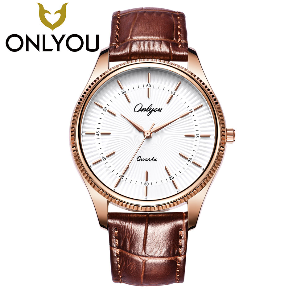 ONLYOU Lovers Watches Women Fashion Casual Men Leather Strap Watch Ladies Simple Waterproof Quartz Wristwahch Gift Wholesale eyki lovers watches simple fashion quartz watch waterproof leather strap men women christmas gift relogio feminino reloj hombre