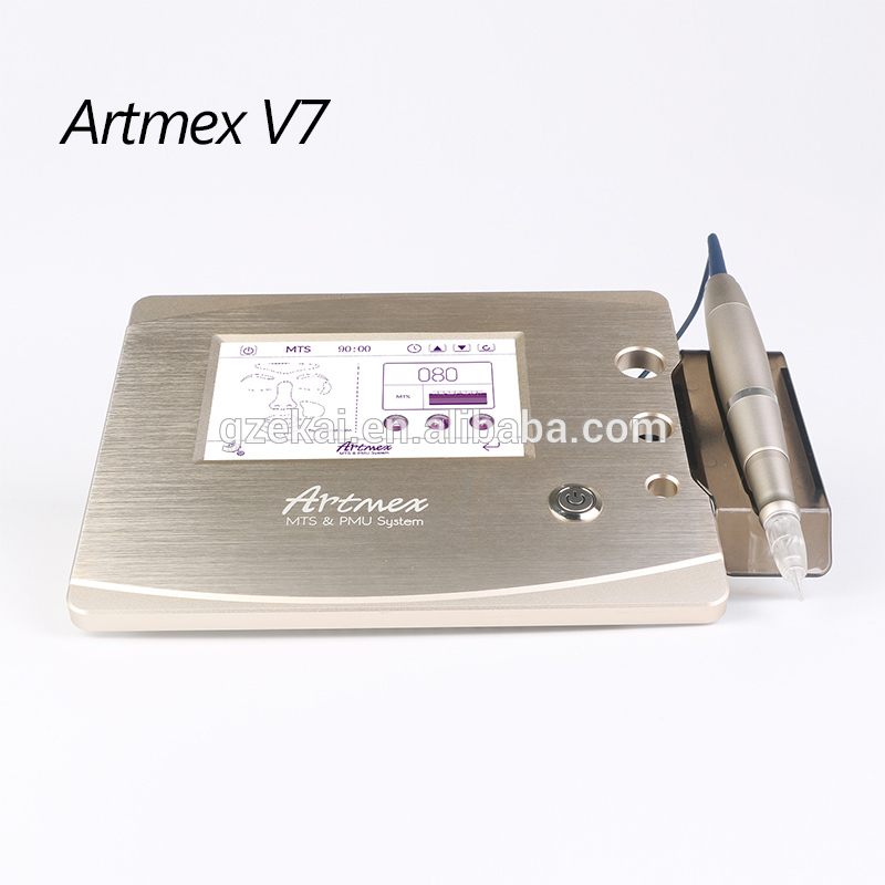 Professional champagne gold rotary tattoo Digital Permanent Makeup Machine artmex V7 dr pen with 12 needle