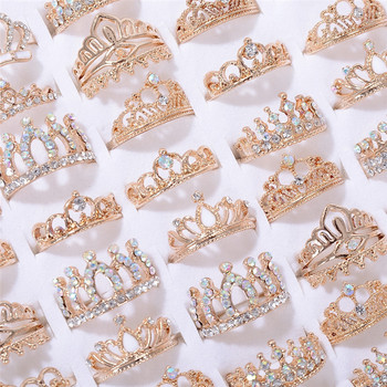 PINKSEE Mix 10Pcs Rhinestone Crown Rings Trendy Charming Finger Rings for Women and Girls Party Jewelry Accessories Wholesale newest viennois fashion jewelry gun color geometric finger rings for woman rhinestone and crystal party accessories