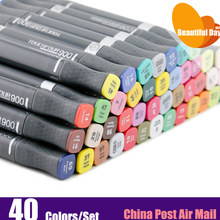 Good Quality!!! Dual-side writing alcohol based permanent art marker pen 40 pens set with free bag,good quality