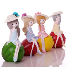 4pcs/set Lovely doll resin Figurines Miniatures garden decoration Crafts kawaii Girl Toys birthday gift home wedding