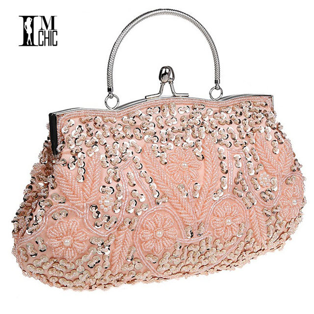 Women Clutch Bags Beads Evening Exquisite Ladies Beaded Embroidered Wedding Party Bridal Handbag Wristlet  bolsos Small  3393