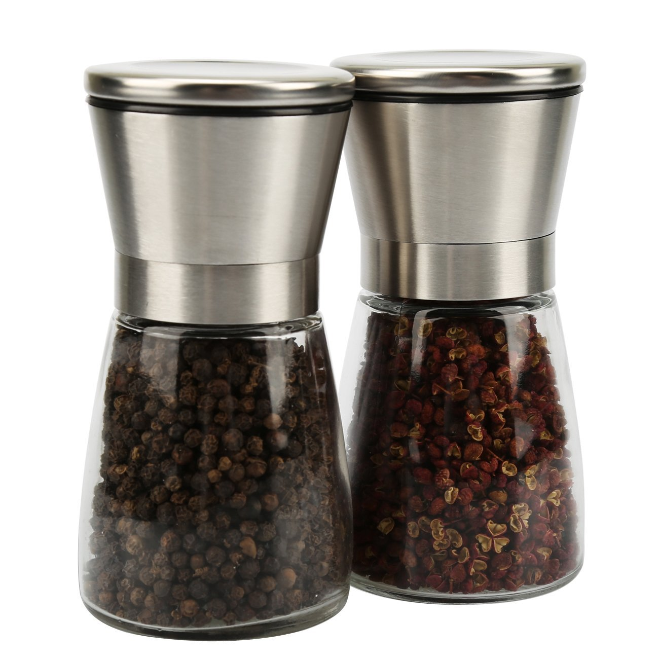 salt and pepper grinder set slim brushed stainless steel pepper mill and salt mill adjustable. Black Bedroom Furniture Sets. Home Design Ideas