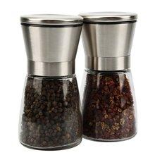 Salz und Pfeffermühle Set, schlank Gebürstet Edelstahl Pfeffermühle und Salzmühle-Einstellbare Keramik Rotor (Set of 2)