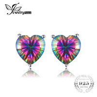 925 Pure Sterling Silver UNIQUE 3 8ct Genuine Nature Rainbow Fire Red Multicolor Mystic Topaz Earrings