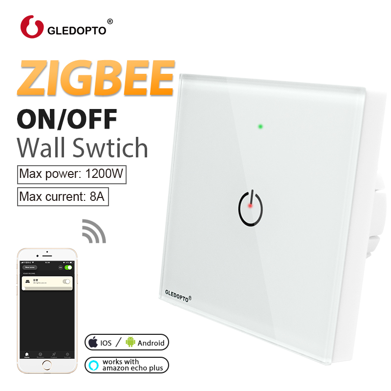 Zigbee 3.0 interruptor de controle de luz inteligente zigbee parede sem fio remoto casa inteligente led on/off trabalho com amazon echo mais gateway