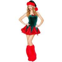 VASHEJIANG Frete grátis Sexy Verde árvore de Natal Trajes Sexy Uniforme Vestido de Natal Trajes de Papai Noel para Adultos