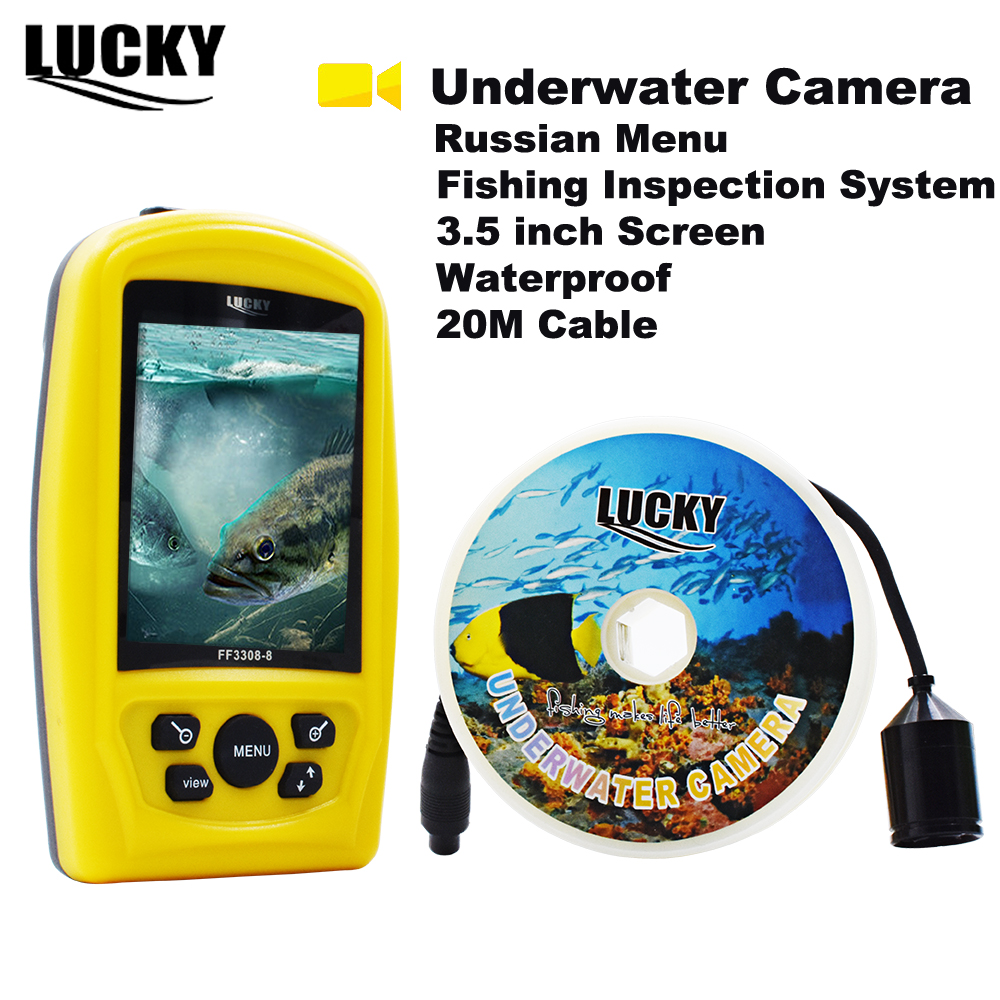 LUCKY FF3308-8, русская меню, портативная подводная камера, 3,5-дюймовая система для рыбалки, водостойкая рыболокатор, зимний лед # C7
