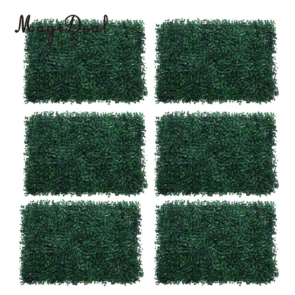 6Pieces Artificial Foliage Plant Wall Panel Home Garden Yard Decor Milan Grass