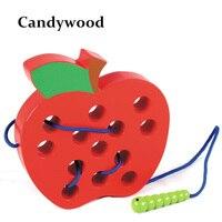 Candywood 2017 new baby học tập sớm & giáo dục bằng gỗ threading đồ chơi worm ăn apple mê cung đồ chơi bằng gỗ đồ chơi câu đố cho thiếu nhi