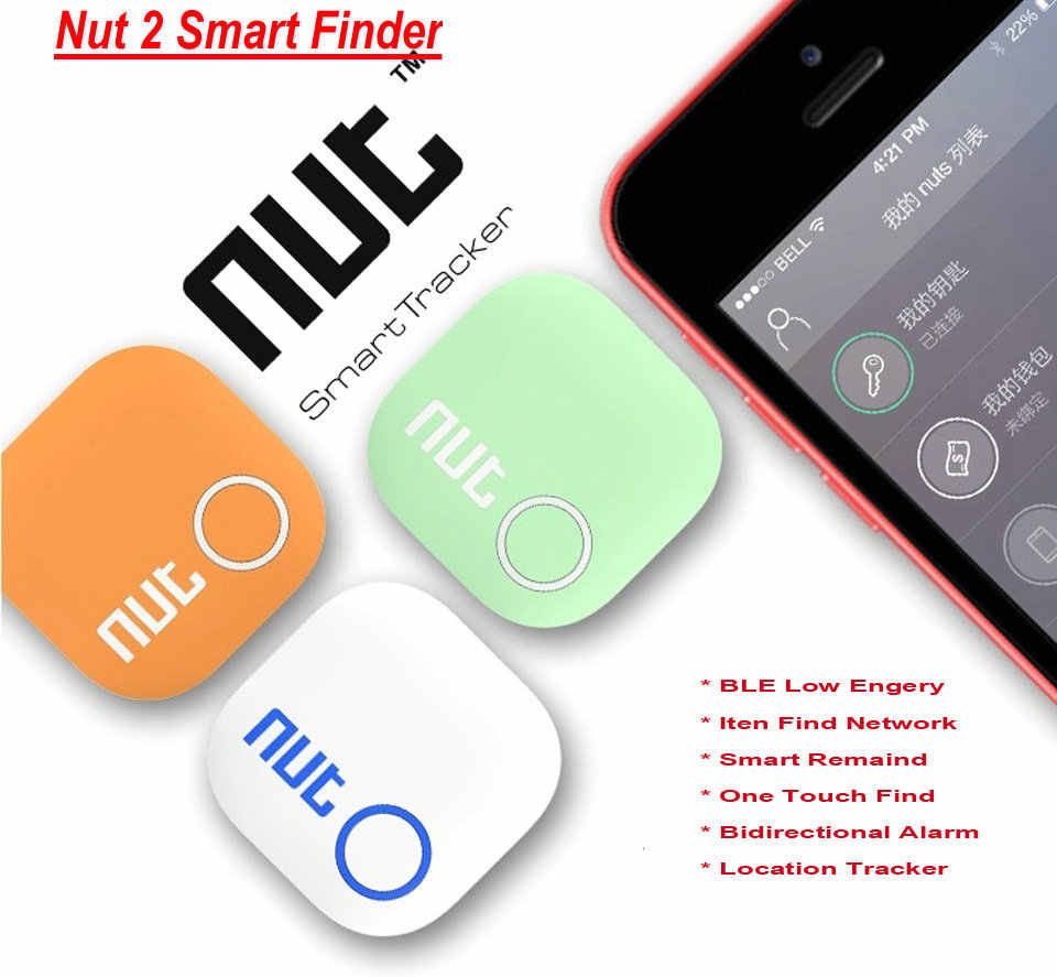 100% Porca Originais 2 Saco Rastreador Alarme Key Finder Locator Localizador De Rastreamento do Bluetooth Inteligente para IOS & Sistema Android 4 cor