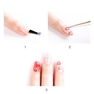 Image 5 - 3Pcs/set Kolinsky Nail Art Brush Crystal Acrylic Thin Liner Drawing Pen Painting Stripes Flower 2 side Nail Art Manicure Tools