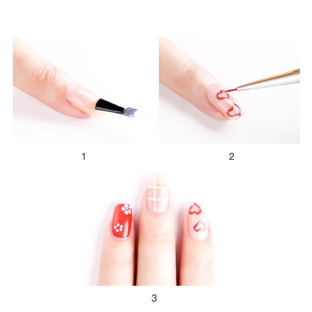 3Pcs/set Kolinsky Nail Art Brush Crystal Acrylic Thin Liner Drawing Pen Painting Stripes Flower 2 side Nail Art Manicure Tools 4