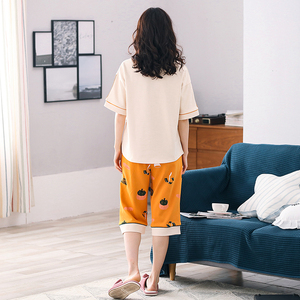 Image 2 - New Arrival Summer 100%Cotton Women Pajamas Set Cartoon Thin Print Pyjamas Women Short Sleeve Round Neck Big Size Pijama Mujer