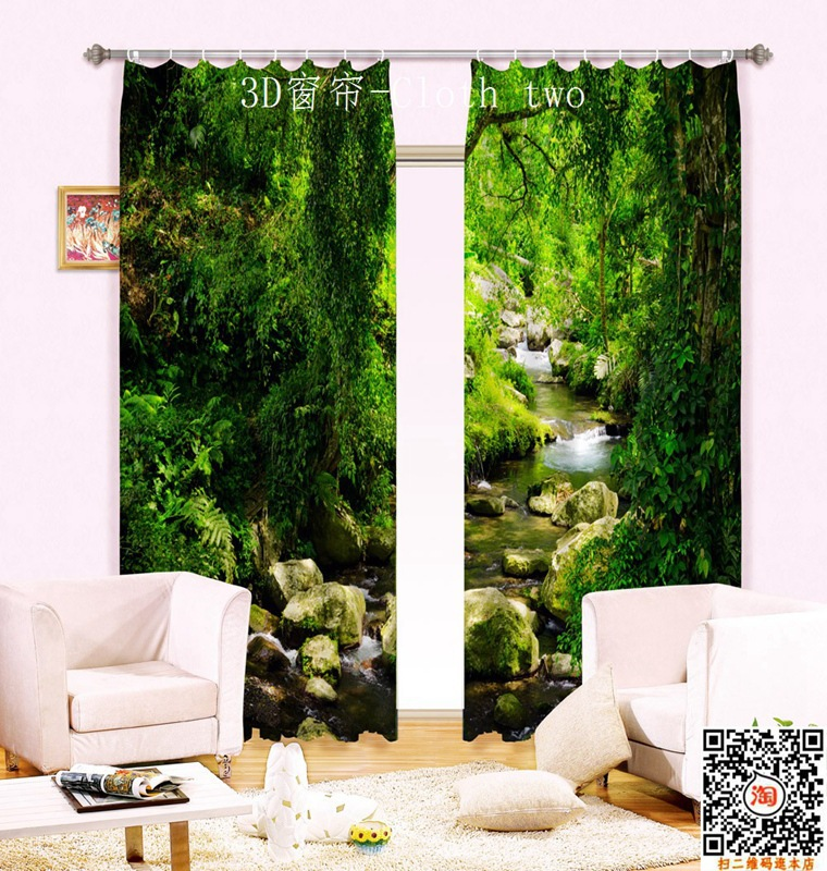 Forest Creek 3D Photo Printing Blackout Window Curtains For Living room Bedding room Hotel/Office Drapes Cortinas para salaForest Creek 3D Photo Printing Blackout Window Curtains For Living room Bedding room Hotel/Office Drapes Cortinas para sala