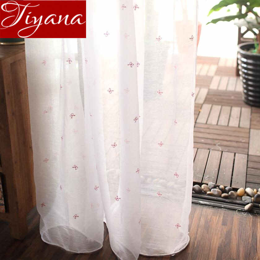 Pink Bow Curtain fold for Living Room White Sheer Tulle Drapes for Window Bedroom Fabrics Treatment Cortinas Rustic X522 #30