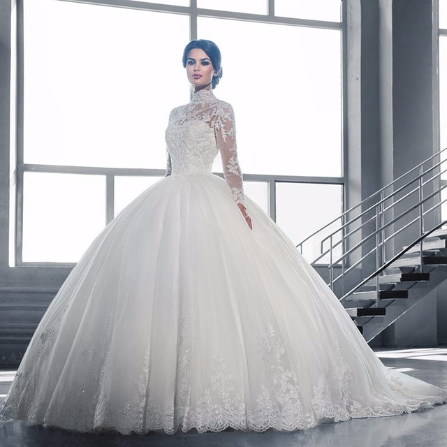 Modeste Col Haut À Manches Longues Robes De Mariée Turquie 2017 Princesse  robe de Bal Tulle