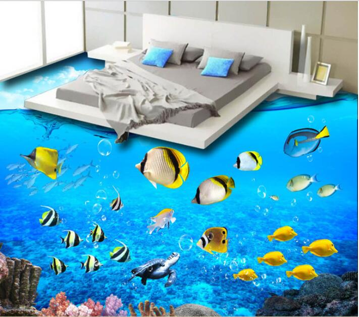 3 d pvc flooring custom of 3d bathroom floor wall paper Pure and fresh and sea world flooring adornment to draw 3 d muralsl