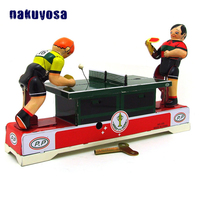 Antique Reminiscence Metal Wind Up Toy Two People Play Table Tennis Classic Clockwork Toys For Children Adults Collection