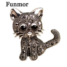 Cute Cat With Crystal Brooch Sweater Cardigan Scarf Clips Anti Silver Animal Broche Korean Style Bag Pendant Hat Pins Bijoux(China)