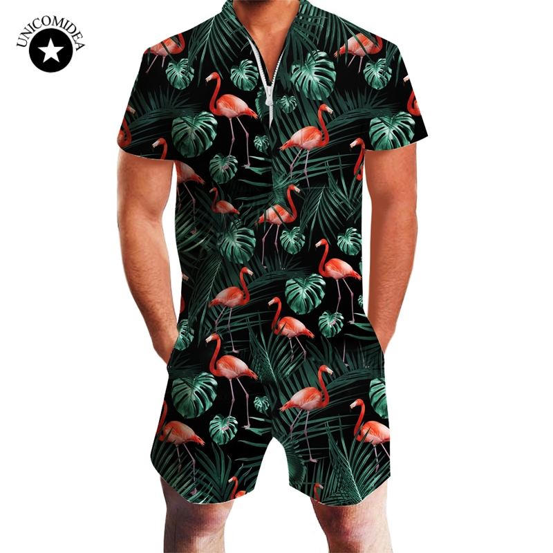 Floral Leaves Flamingos Printed Rompers Mens Short Sleeve 3d Jumpsuit Playsuit Overalls Summer Fashion Streetwear One Piece