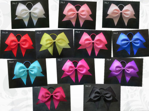 50 pcs BLESSING Happy Girl Boutique Hair Accessories 7 Inch Cheer Leader Bow Elastic