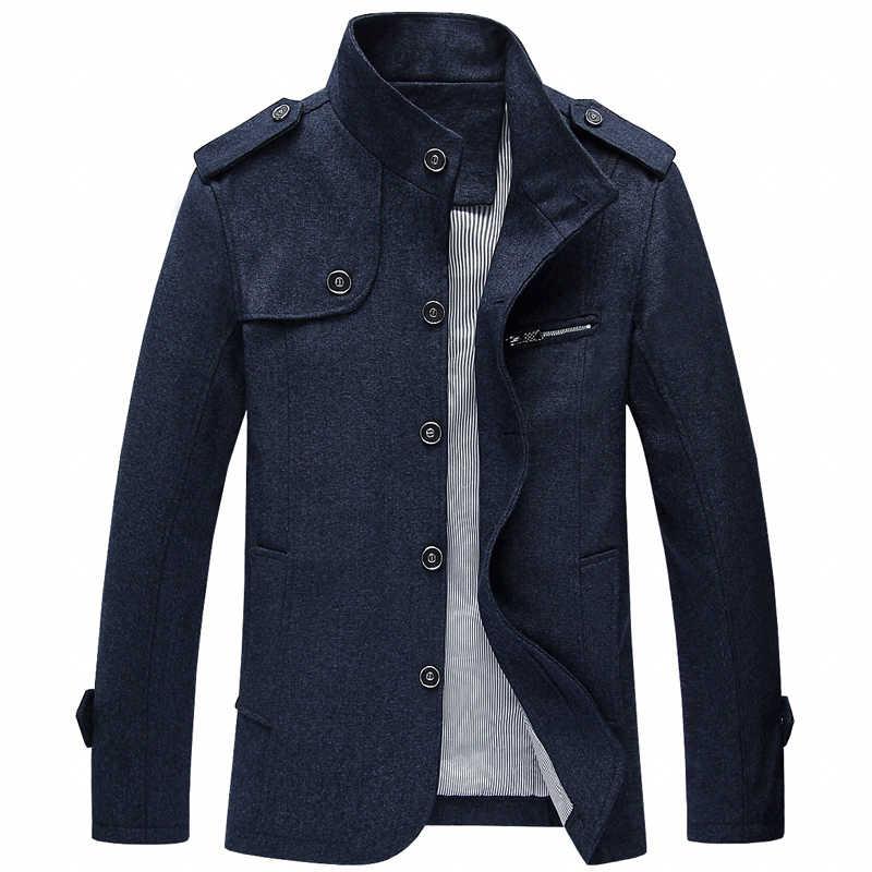 秋冬ファッションの男性のジャケット大サイズ M-4XL スタンド襟古典カジュアル厚いウールジャケット男性生き抜くビジネスコート