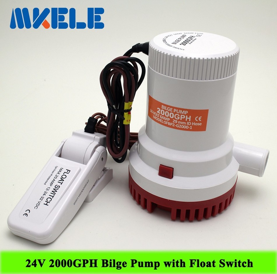 ФОТО MKBP-G2000-24 24 2000GPH 3m3/h DC Submersible water Bilge pump with Bilge Pump Float Switch
