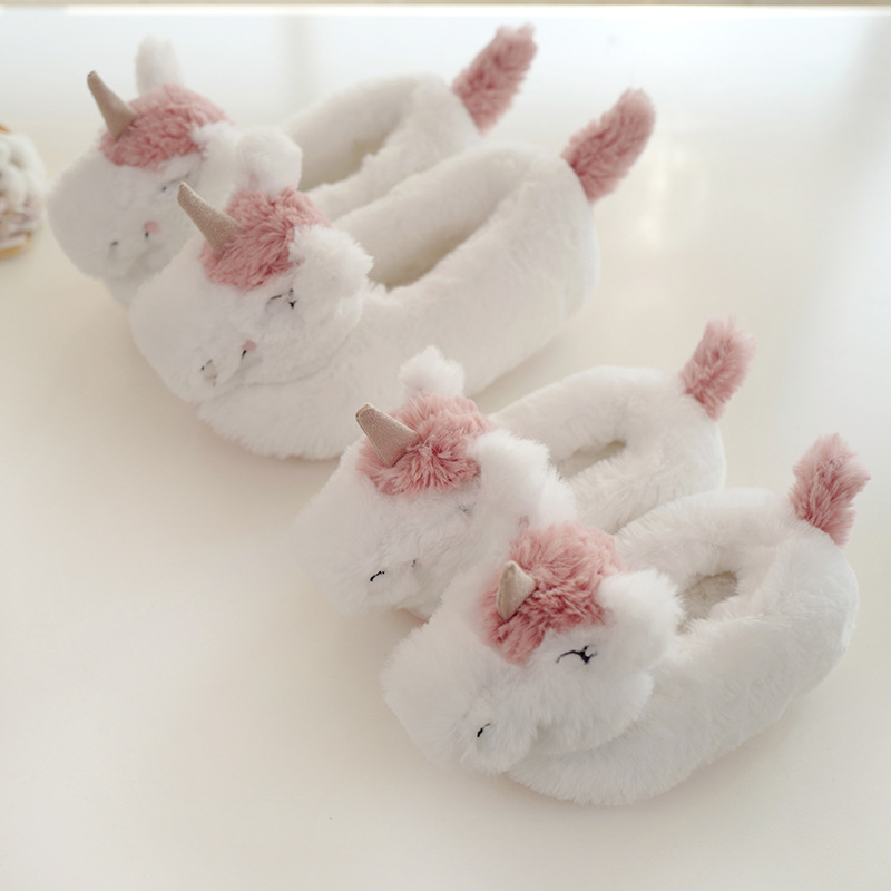 Baby Unicorn Shoes Bedroom Slippers Girls Fur Slippers For