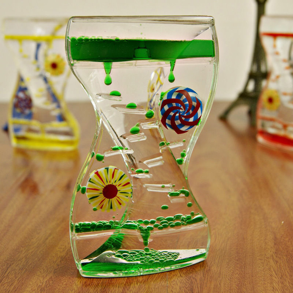 Floating Color Mix Illusion Liquid Motion Visual Slim Oil Hourglass 140*80*30mm