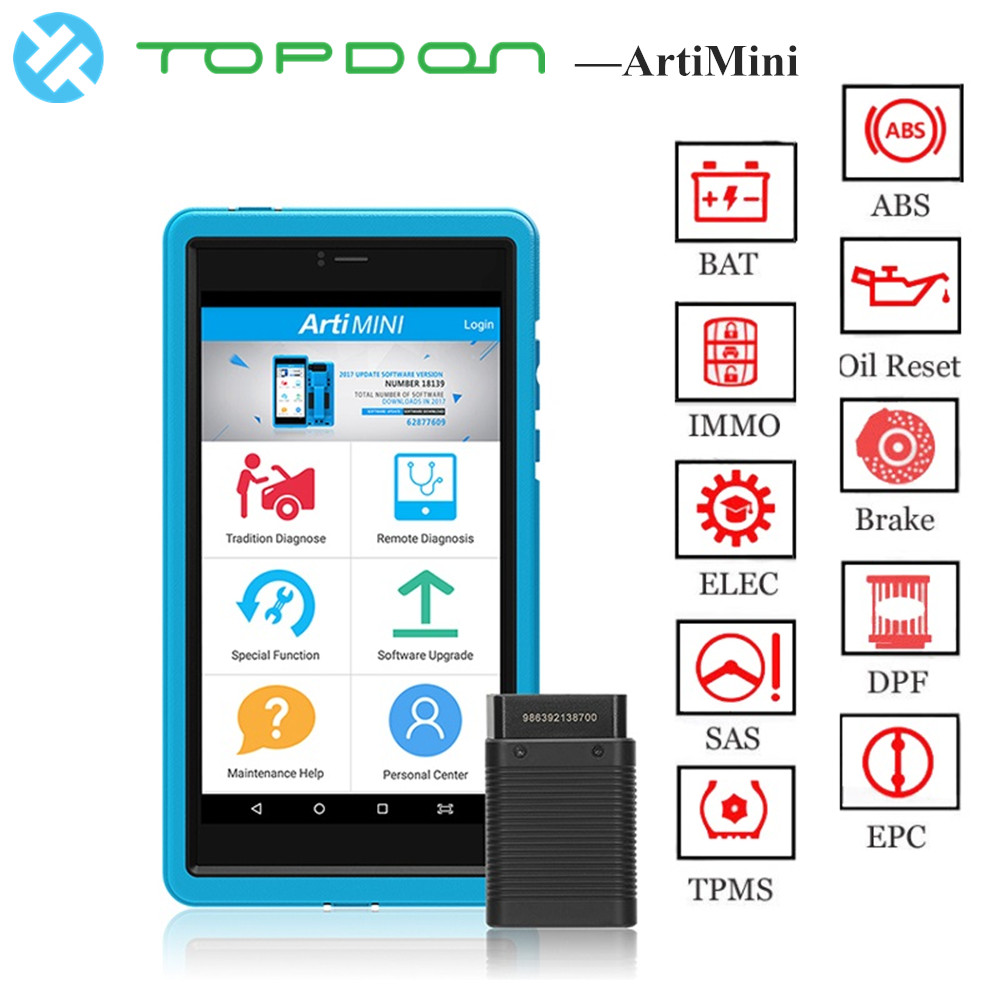 TOPDON ArtiMini Auto Diagnostic TooL Software Automotive All System OBDII OBD2 Bluetooth Scanner WiFi Full Function pk X431 Pros