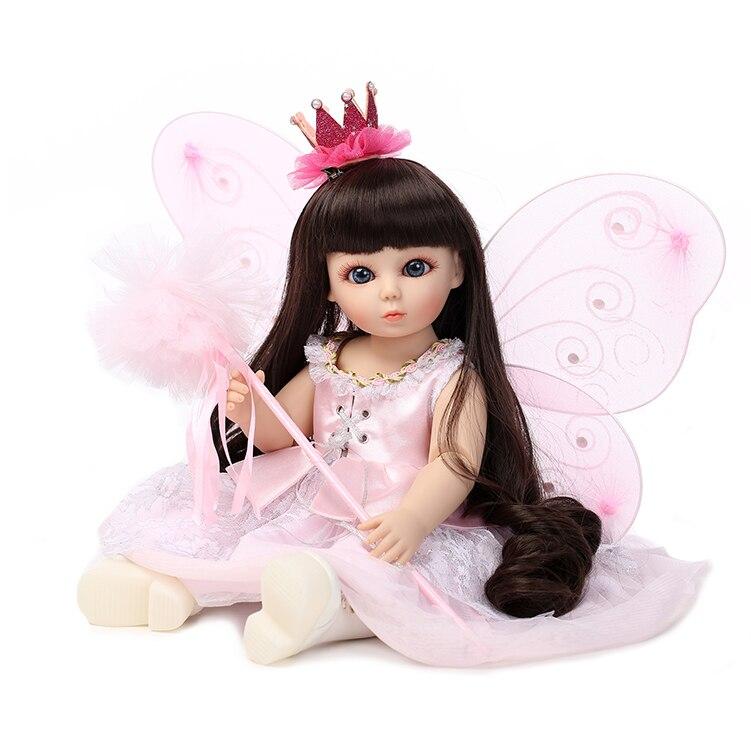 45cm New Cute Pink Princess Vinyl Plastic SD/BJD Baby Doll Toys Home Doll Birthday Gifts Play House Girls Brinquedos