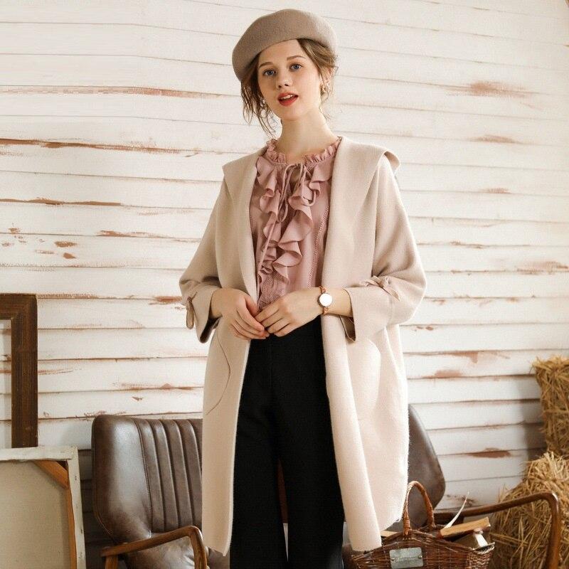 Kadın Giyim'ten Yün ve Karışımları'de 2018 Moda bayan yün ceket kış kapşonlu trençkot batwing 3/4 kollu uzun yün örme ceket palto artı boyutu L XXXXXL'da  Grup 1