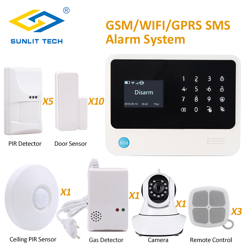 Anti Pet WIFI GSM Security Alarm System with 720P WIFI IP Camera and 360 Degree Ceiling Motion Sensor Gas Sensor escam qf550 super egg wifi 1 0mp alarm ip camera anti fire anti gas 720p