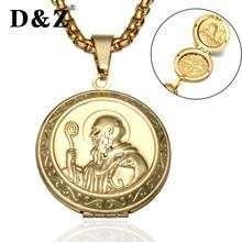 D   Z Santo San Benito Medalha de Ouro Pingente De Aço Inoxidável Do  Vintage Pode Abrir Moldura   Pingentes Colares para jóias r. 017831fc90
