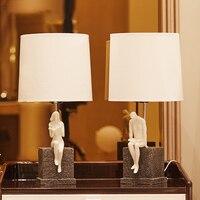 Reading Sweetheart Table Lamp Creative Art Resin Desk Lamp Vintage Living Room Bedroom Bedside Night Light Decor Light Fixtures