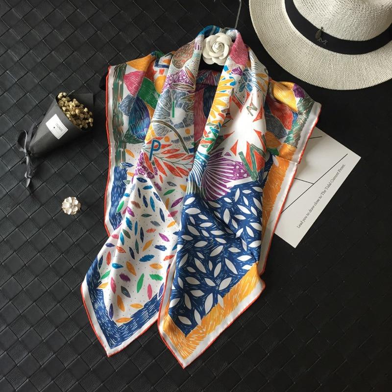 100 Silk Twill Scarf Women Luxury Brands Head Scarves Shawl Hijab Wraps Poncho Foulard Nepalese Bird