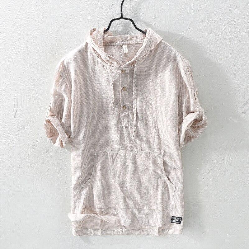 Japanese Vintage Men Shirts Hooded Collar Summer Fashion Linen Shirts Men Cotton Tee Half Length Sleeve Casual Shirts Pullover