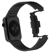 Negro brazalete de Eslabones para apple reloj Correa de reloj De Correa de acero Para Apple iWatch inoxidable 316L Hebilla de Banda Original de 1:1
