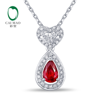 Classical Engagement Pendant 0.88ctw Natural Ruby & Diamonds 14K/Au585 Caimao Jewelry