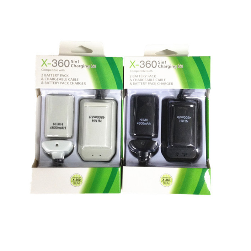 Double Rechargeable Battery + USB Charger Cable Pack for XBOX 360 Wireless Controller
