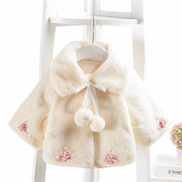 Infant Baby Girls Clothes Autumn Winter Fancy Fur Flower Pompom Coat for Girl Newborn Baby Coats and Jackets Warm Parka Outwear