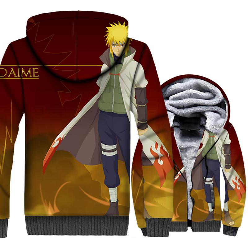 Thick warm coats Anime Naruto Yondaime Hokage tracksuit 2019 men wool liner jackets hooded 3D Print sweatshirts Namikaze hoodies