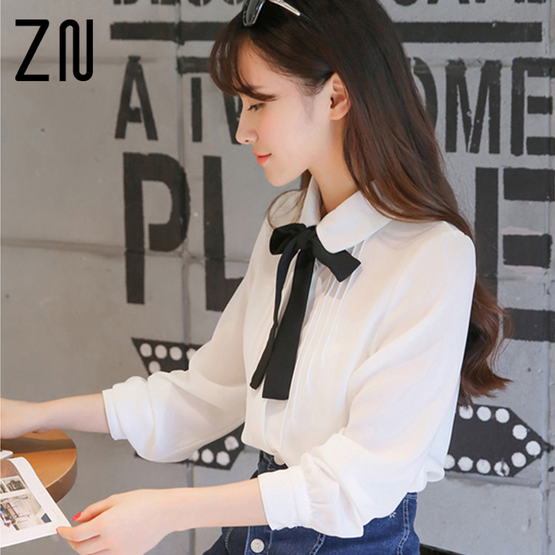 Spring New Arrival Fashion Sweet Black Bow Tie Chiffon White Blouses