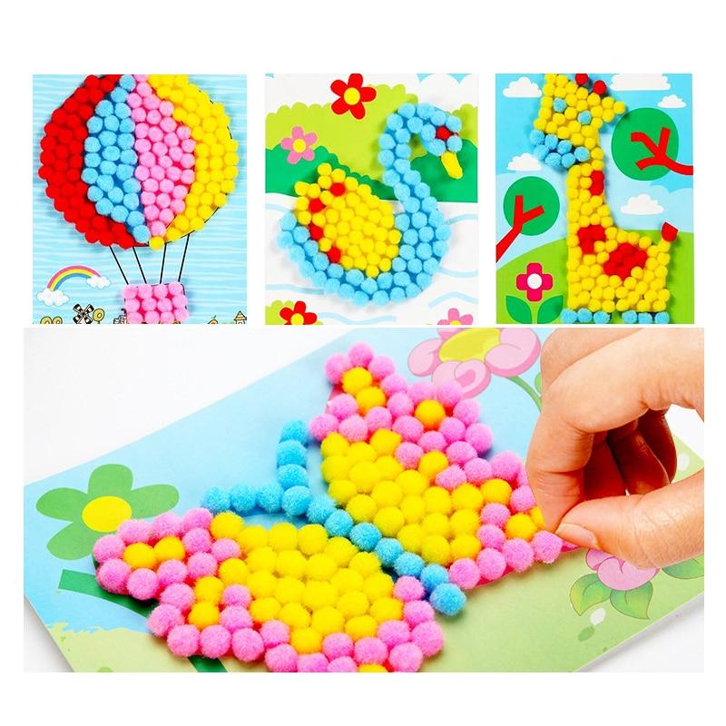 1 Pcs Kids Handmade Material Cartoon Puzzles Creative Diy Plush Ball Painting Stickers Children Educational Crafts Toy